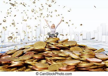 frau, reich, glücklich