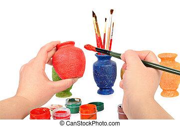 frau reicht, a, bürste, farbe, a, vase., handwerk, concept.,...