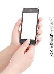 frau reicht, besitz, schwarz, modern, klug, telefon, mit, leerer schirm, und, drückenden knopf, per, der, thumb., freigestellt, weiß, hintergrund.