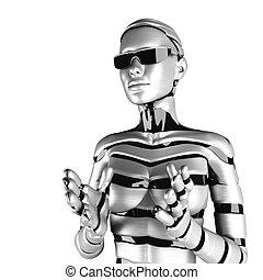 frau, roboter