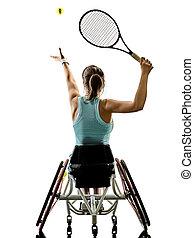 frau, rollstuhl, tennis, junger, freigestellt, behindertes, spieler, sport