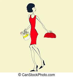frau, rotes kleid