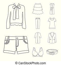 frau, satz, stock., gegenstand, symbol., freigestellt, vektor, tragen, kleidung, ikone