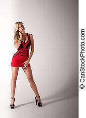 frau, schöne , rotes kleid, blond