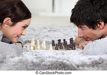 frau, schach, mann, spielende