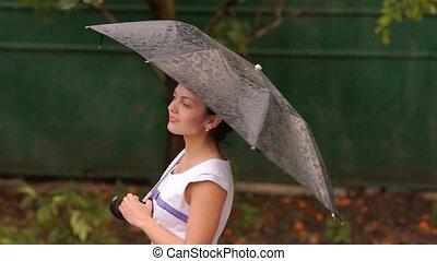 frau schirm, regen