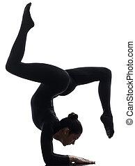 frau, schlangenmensch, trainieren, gymnastisch, joga, silhouette