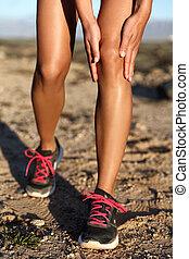 frau, schmerz, läufer, folgen lauf, rennen, knie, verletzung