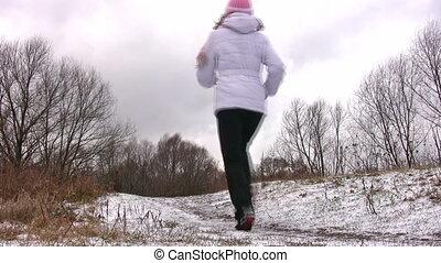 frau, schnee, rennender , fotoapperat, way., zuerst