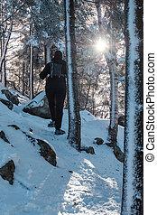 frau, schnee, wandern