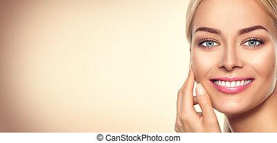 frau, schoenheit, face., porträt, modell, m�dchen
