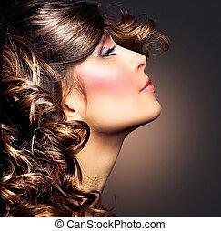 frau, schoenheit, lockig, brünett, portrait., hair., m�dchen