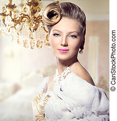 frau, schoenheit, portrait., retro, styled, dame, luxus