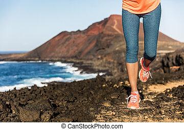 frau, schuhe, läufer, athlet, folgen lauf, beine
