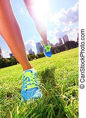 frau, schuhe, läufer, athlet, -, rennender