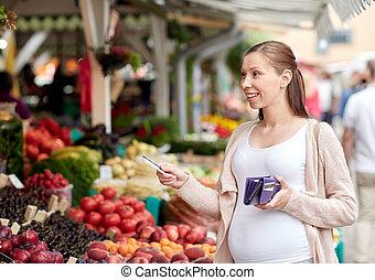 frau, schwanger, kredit, straße markt, karte