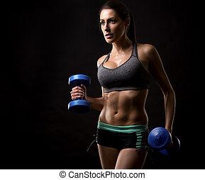 frau, schwarzer hintergrund, fitness
