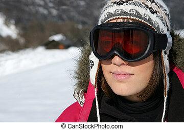 frau, schwimmbrille, ski