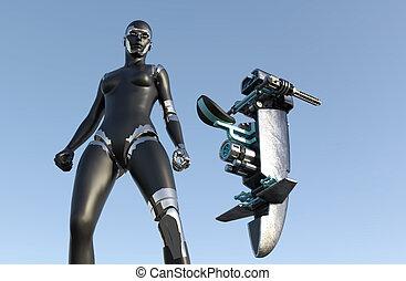 frau, science-fiction, cyborg, -, humanoid, fahrzeug