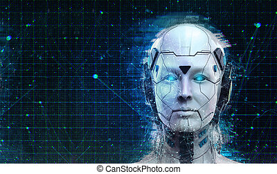 frau, science-fiction, cyborg, roboter, hintergrund, android, technologie