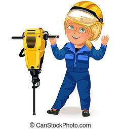 frau, seine, weibliche , arbeitende , berufe, bauunternehmer, harter arbeiter, schraubenzieher, abbildung, uniform, vektor, starke , arme, bohrmaschiene, feministinnen, not, m�dchen,