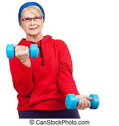 frau, senioren, weights.