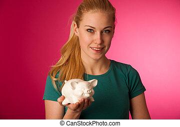 frau, sicher, schweinchen, hände, savings., retten, aufgeregt, bank