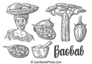 frau, sie, afrikanisch, fruechte, weinlese, seeds.,...