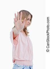 frau, Sie, Auf,  Hand, gehalten, fotoapperat, Seite, Ansicht