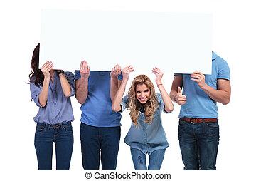 frau, sie, banner, besitz, lächeln, friends, verstecken