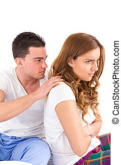 frau, sie, bett, ignorieren, während, partner, konflikt, mann