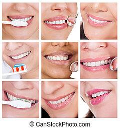 frau, sie, collage, reinigende zähne, lächeln