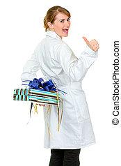 frau, sie, geschenk, doktor, auf, medizin, freigestellt,...