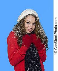frau, sie, schnee, haar, hübsch, porträt