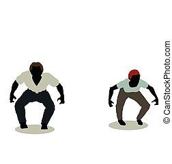 frau, silhouette, animation, springende , mann