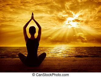 frau, silhouette, begriff, sonne, meditieren, zurück,...