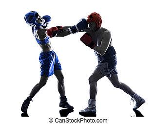 frau, silhouette, boxen, freigestellt, boxer, kickboxing, mann