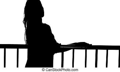 Frau, Silhouette - frau, weiblich, silhouette