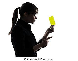 frau, silhouette, geschaeftswelt, ausstellung, gelbe karte