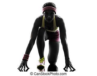 frau, silhouette, läufer, rennender , blöcke, beginnen