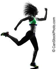 frau, silhouette, läufer, rennender , jogger, jogging