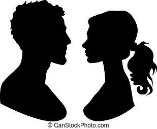 frau, silhouette, mann, gesichter