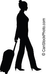frau, silhouette, reisen