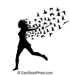 frau, silhouette, sie, fliegendes, junger, springende , vögel