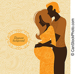 frau, silhouette, sie, schwanger, ehepaar., hintergrund, ...