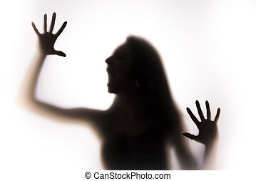 frau, silhouette