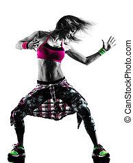 frau, silhouette, tanzen, freigestellt, tänzer, fitness, übungen, cardio