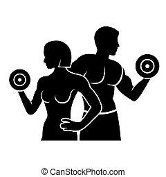 frau, silhouette, vektor, fitness, logo, mann, ikone
