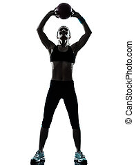 frau, silhouette, workout, trainieren, kugel, fitness