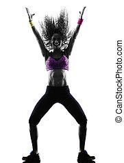 frau, silhouette, zumba, tanzen, tänzer, übungen